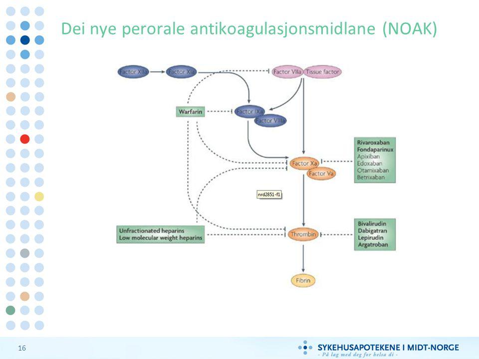 Dei nye perorale antikoagulasjonsmidlane (NOAK)