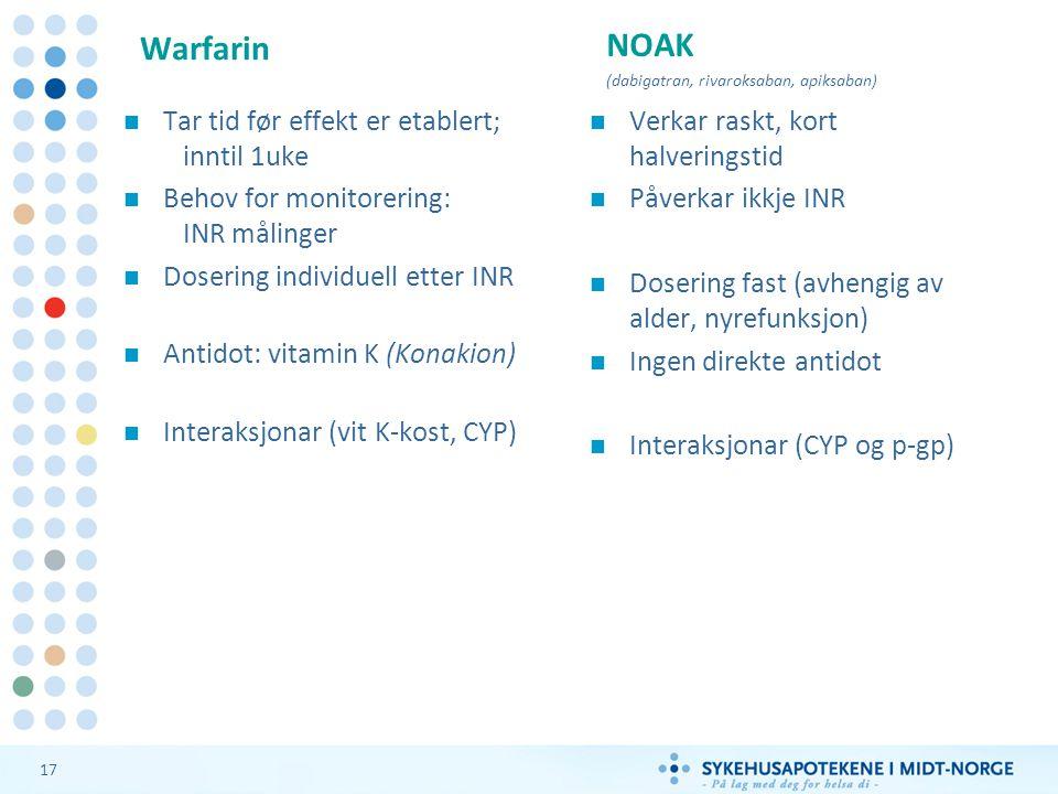Warfarin NOAK Tar tid før effekt er etablert; inntil 1uke