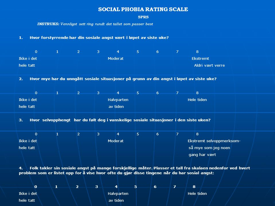 SOCIAL PHOBIA RATING SCALE