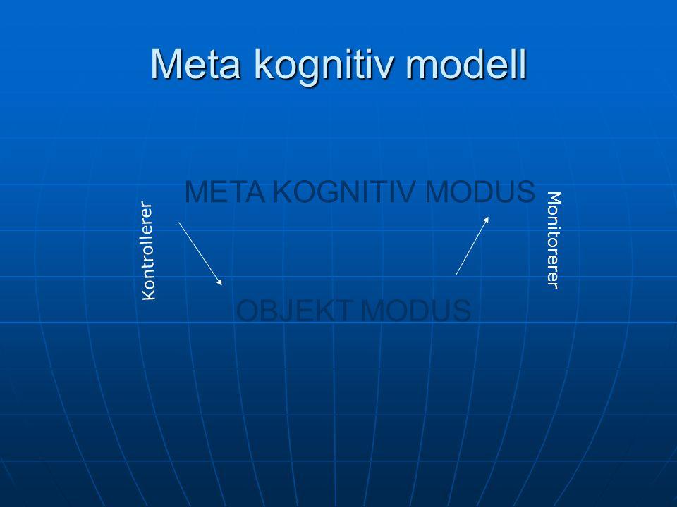 Meta kognitiv modell META KOGNITIV MODUS OBJEKT MODUS Kontrollerer