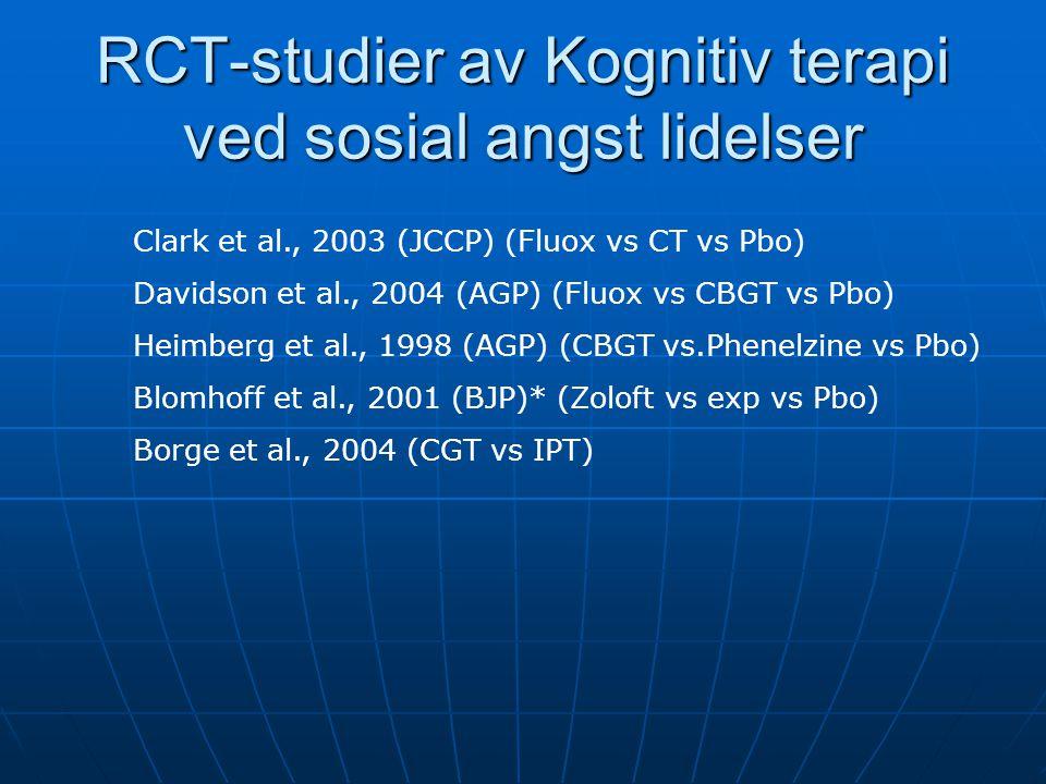 RCT-studier av Kognitiv terapi ved sosial angst lidelser