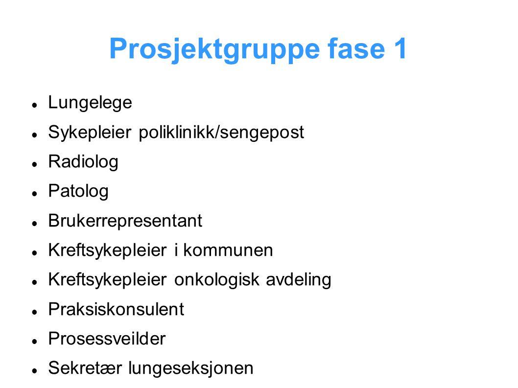 Prosjektgruppe fase 1 Lungelege Sykepleier poliklinikk/sengepost