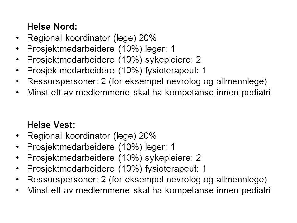 Helse Nord: Regional koordinator (lege) 20% Prosjektmedarbeidere (10%) leger: 1. Prosjektmedarbeidere (10%) sykepleiere: 2.