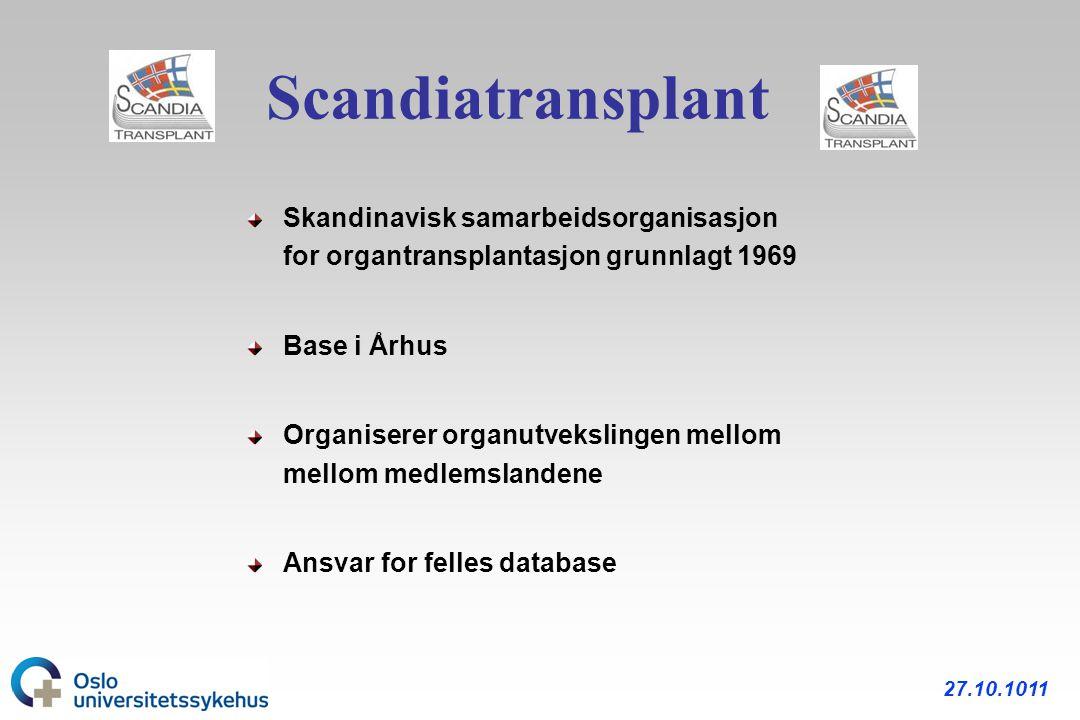 Scandiatransplant Skandinavisk samarbeidsorganisasjon for organtransplantasjon grunnlagt 1969. Base i Århus.