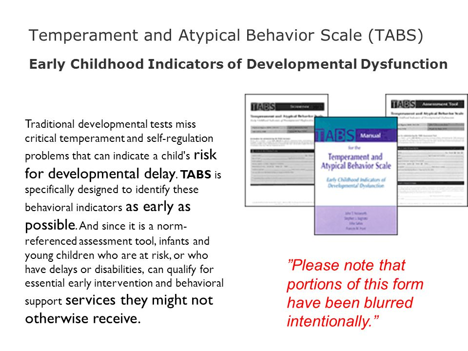 Temperament and Atypical Behavior Scale (TABS) Early Childhood Indicators of Developmental Dysfunction