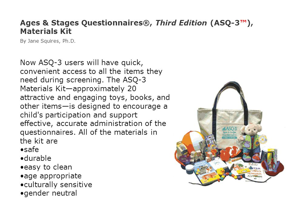 Ages & Stages Questionnaires®, Third Edition (ASQ-3™), Materials Kit By Jane Squires, Ph.D.