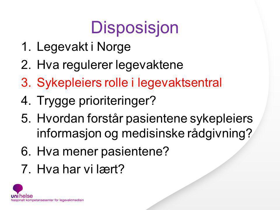 Disposisjon Legevakt i Norge Hva regulerer legevaktene