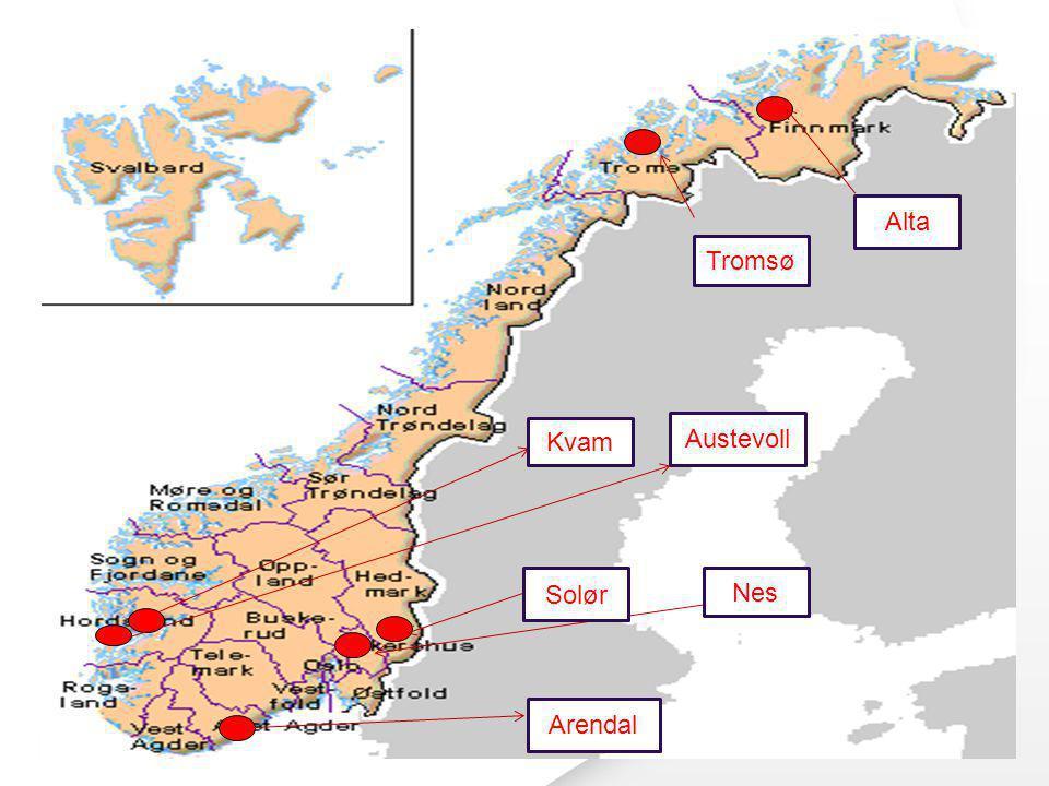 Alta Tromsø Kvam Austevoll ! Solør Nes Arendal