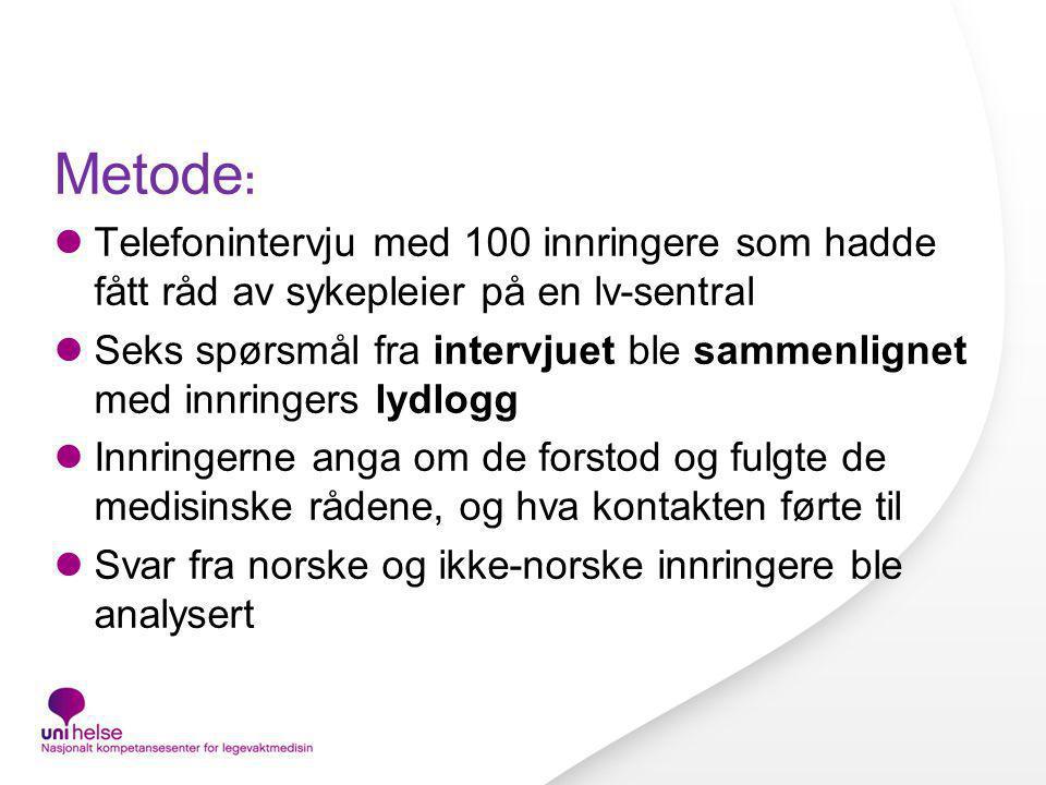 Metode: Telefonintervju med 100 innringere som hadde fått råd av sykepleier på en lv-sentral.