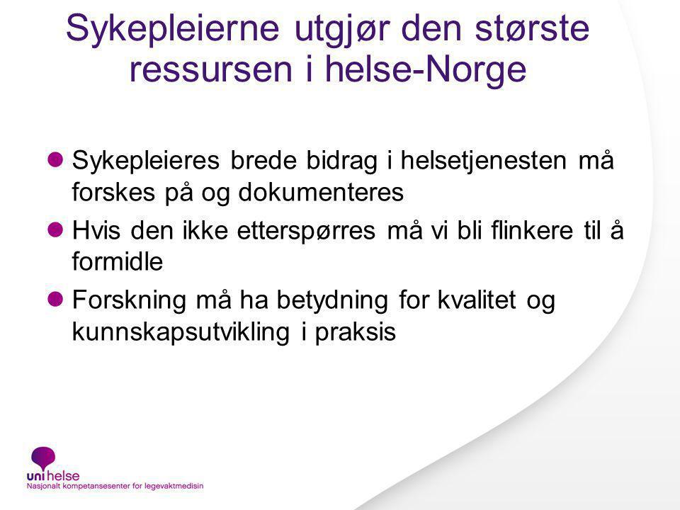 Sykepleierne utgjør den største ressursen i helse-Norge