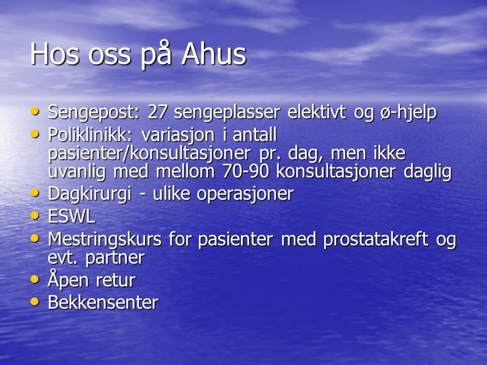 Hos oss på Ahus Sengepost: 27 sengeplasser elektivt og ø-hjelp