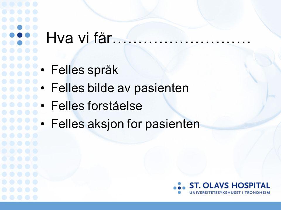 Hva vi får……………………… Felles språk Felles bilde av pasienten
