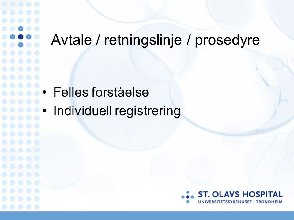 Avtale / retningslinje / prosedyre