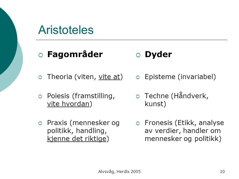 Aristoteles Fagområder Dyder Theoria (viten, vite at)