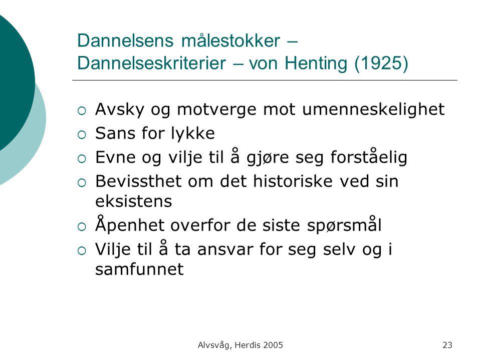 Dannelsens målestokker – Dannelseskriterier – von Henting (1925)