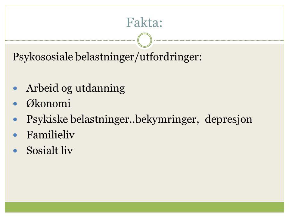 Fakta: Psykososiale belastninger/utfordringer: Arbeid og utdanning
