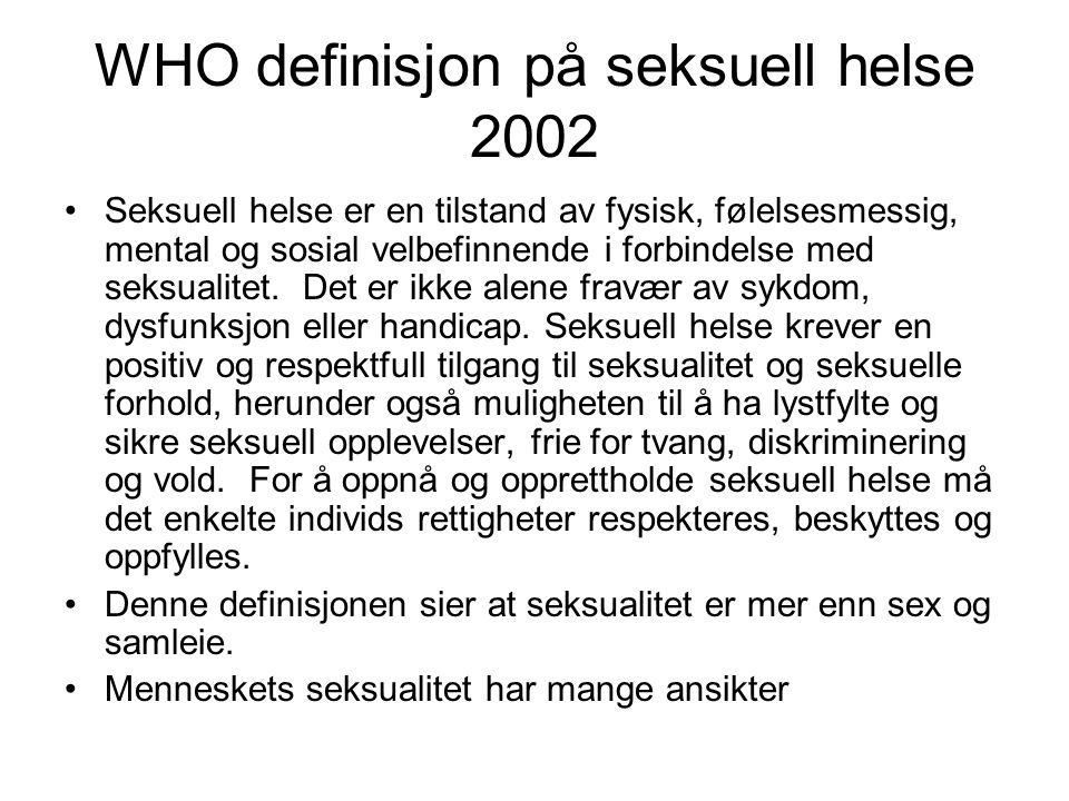 WHO definisjon på seksuell helse 2002