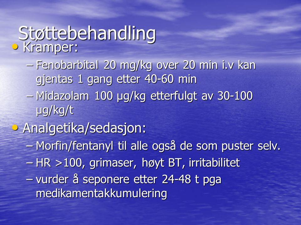 Støttebehandling Kramper: Analgetika/sedasjon: