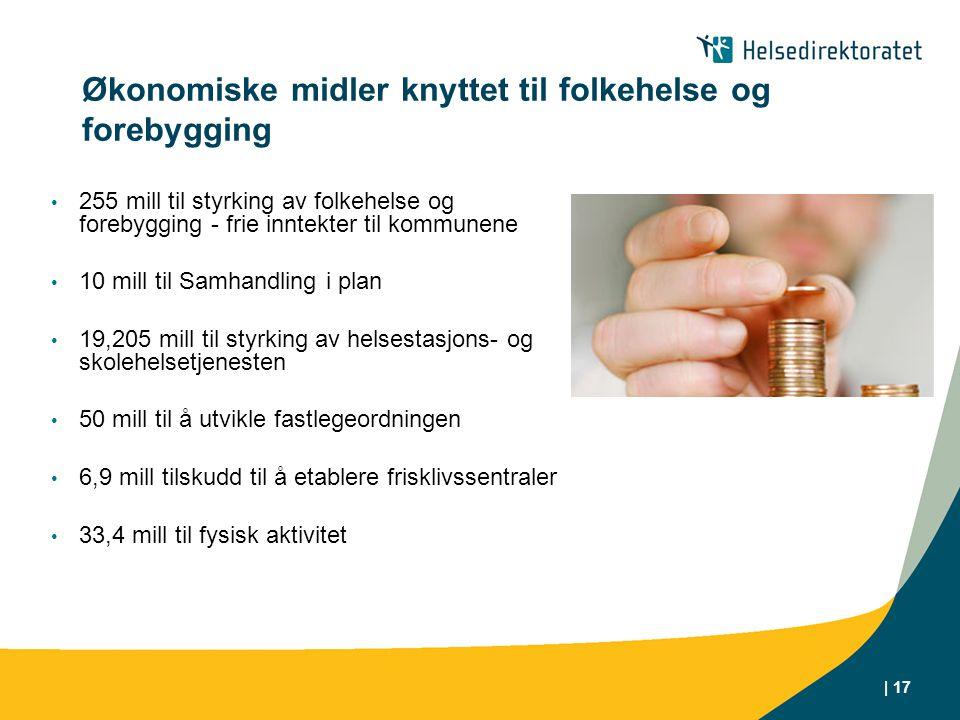 Økonomiske midler knyttet til folkehelse og forebygging