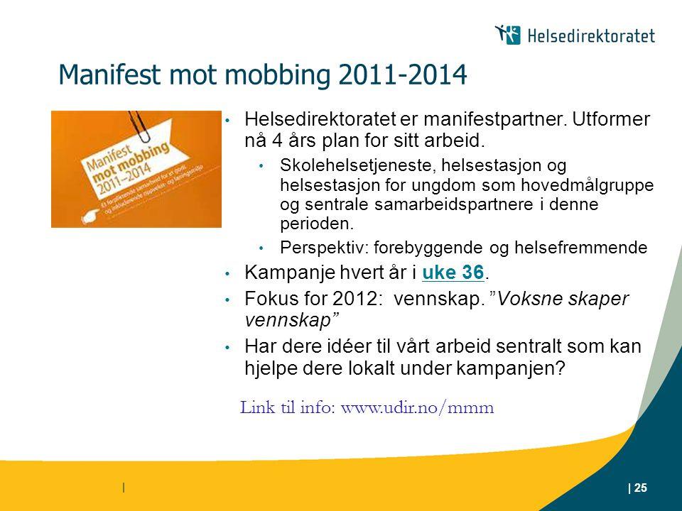 Manifest mot mobbing 2011-2014 Helsedirektoratet er manifestpartner. Utformer nå 4 års plan for sitt arbeid.