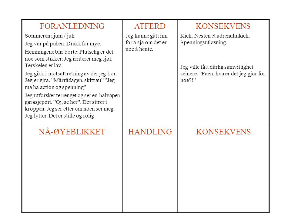 FORANLEDNING ATFERD KONSEKVENS NÅ-ØYEBLIKKET HANDLING