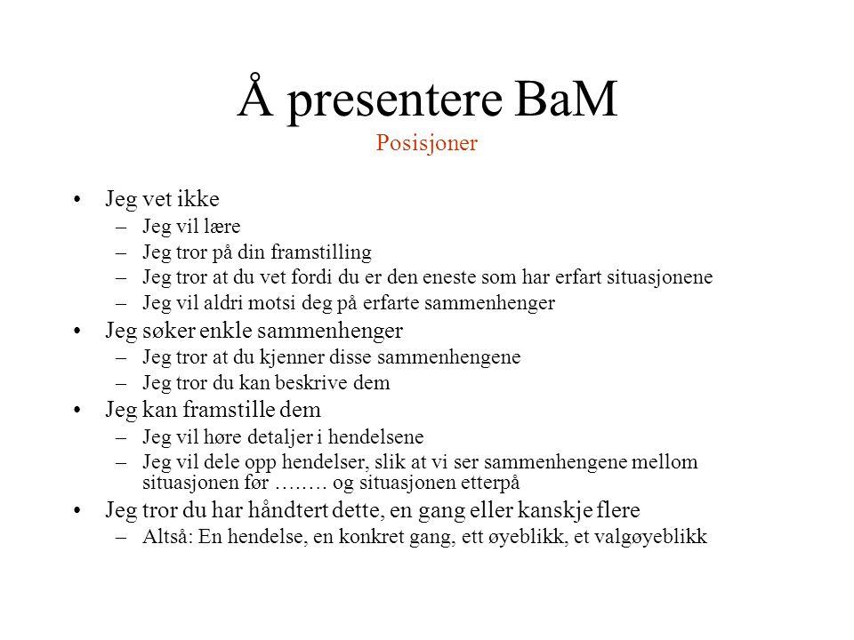 Å presentere BaM Posisjoner