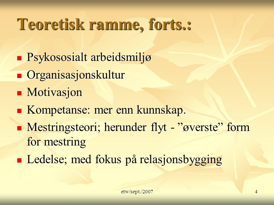 Teoretisk ramme, forts.: