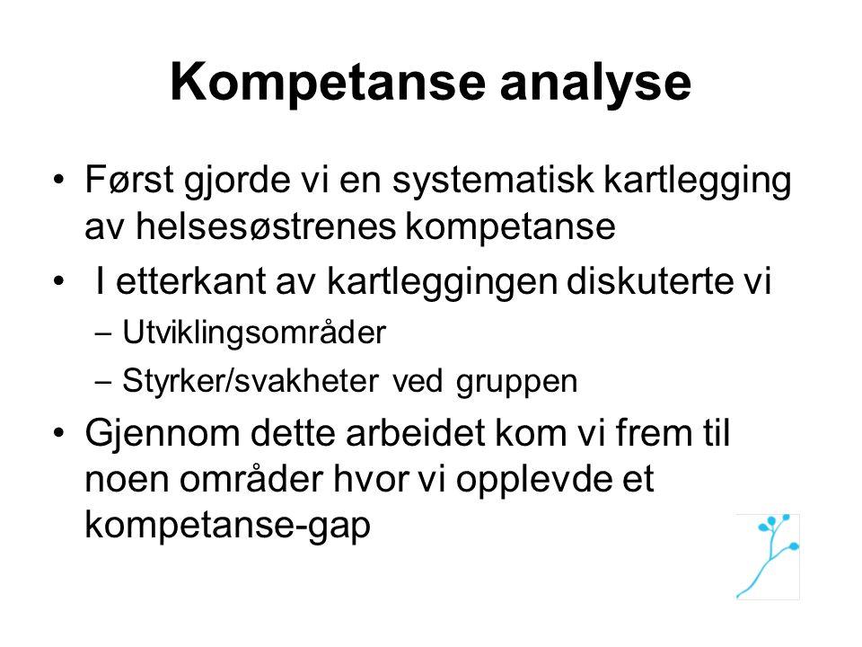 Kompetanse analyse Først gjorde vi en systematisk kartlegging av helsesøstrenes kompetanse. I etterkant av kartleggingen diskuterte vi.
