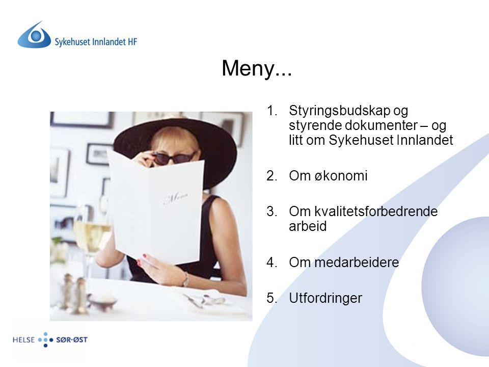Meny... Styringsbudskap og styrende dokumenter – og litt om Sykehuset Innlandet. Om økonomi. Om kvalitetsforbedrende arbeid.