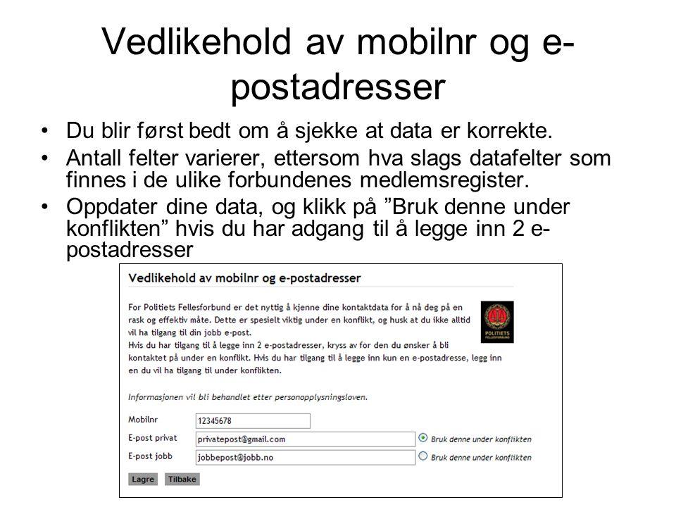 Vedlikehold av mobilnr og e-postadresser