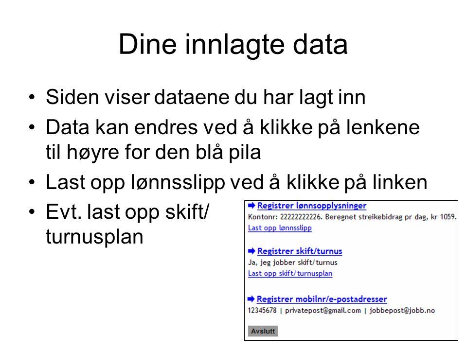 Dine innlagte data Siden viser dataene du har lagt inn