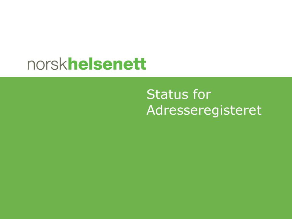 Status for Adresseregisteret