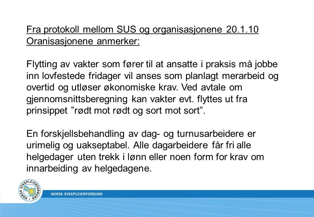 Fra protokoll mellom SUS og organisasjonene 20.1.10