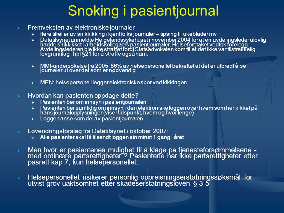 Snoking i pasientjournal