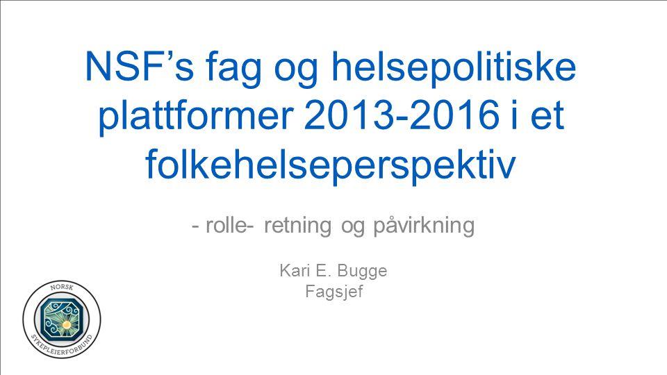 - rolle- retning og påvirkning Kari E. Bugge Fagsjef
