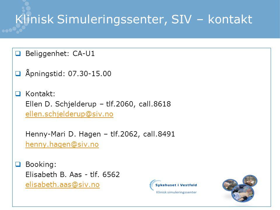 Klinisk Simuleringssenter, SIV – kontakt
