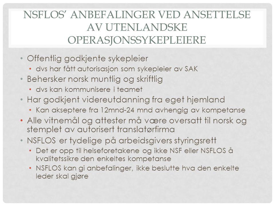 Nsflos' anbefalinger ved ansettelse av utenlandske operasjonssykepleiere