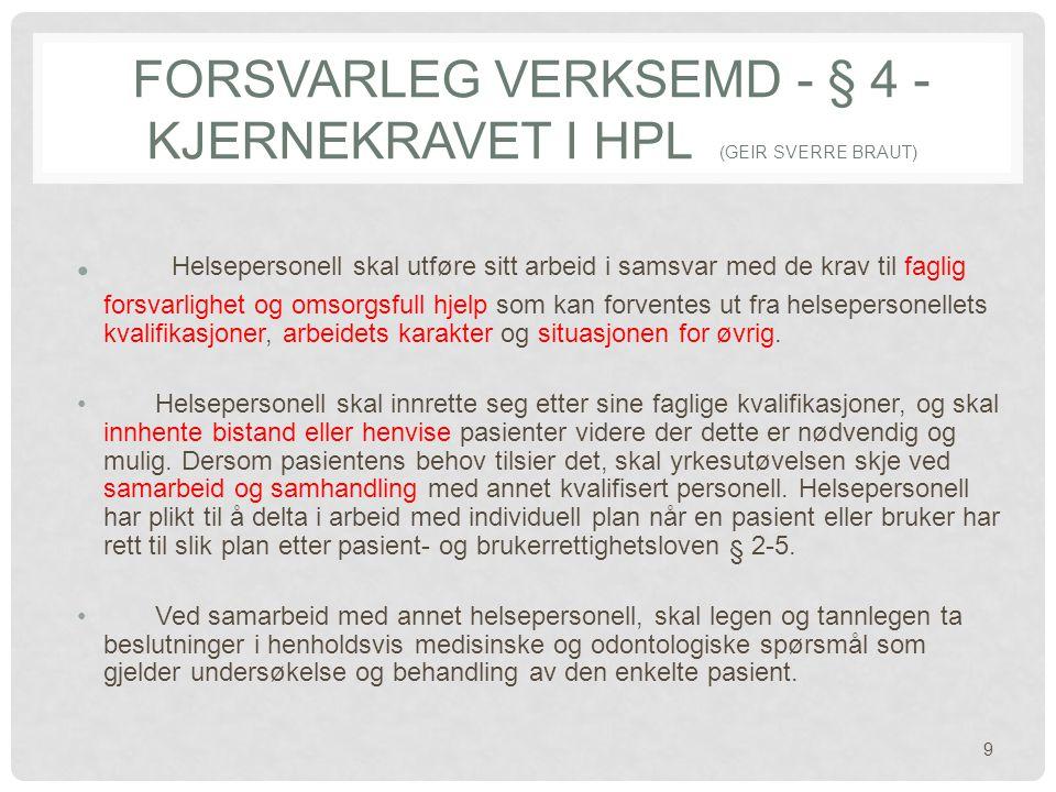 Forsvarleg verksemd - § 4 - kjernekravet i hpl (Geir Sverre Braut)