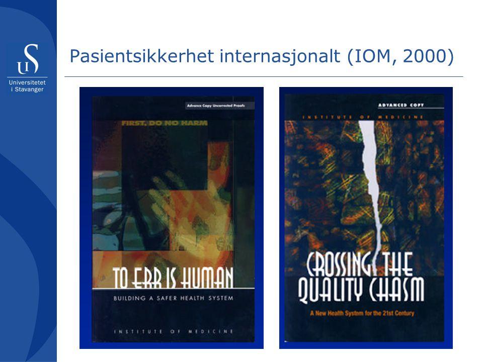 Pasientsikkerhet internasjonalt (IOM, 2000)