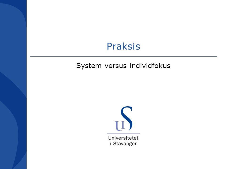 System versus individfokus