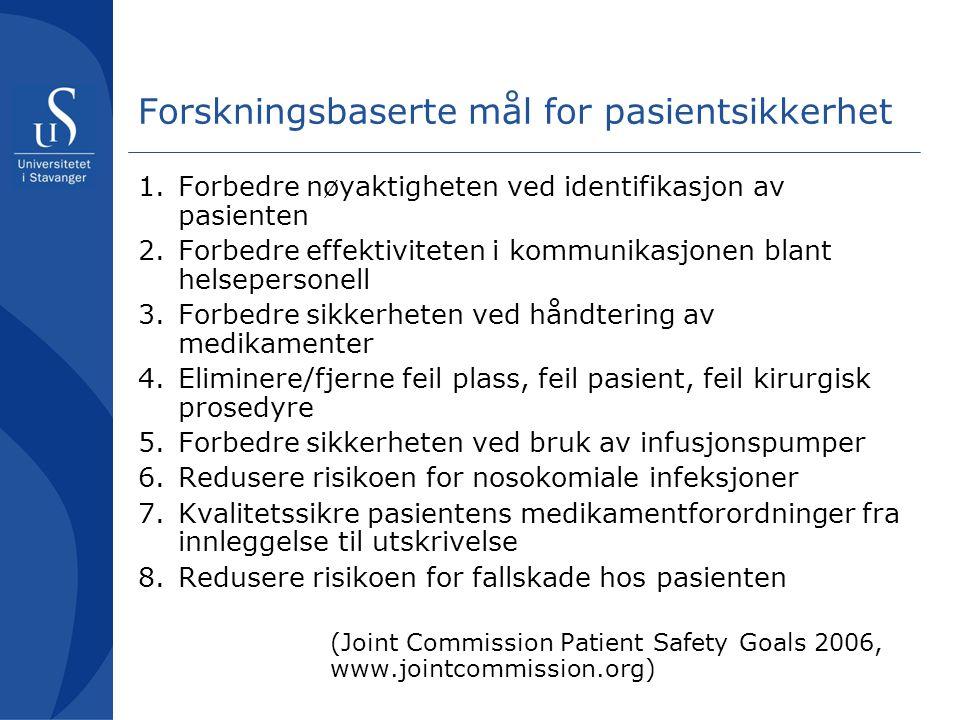 Forskningsbaserte mål for pasientsikkerhet