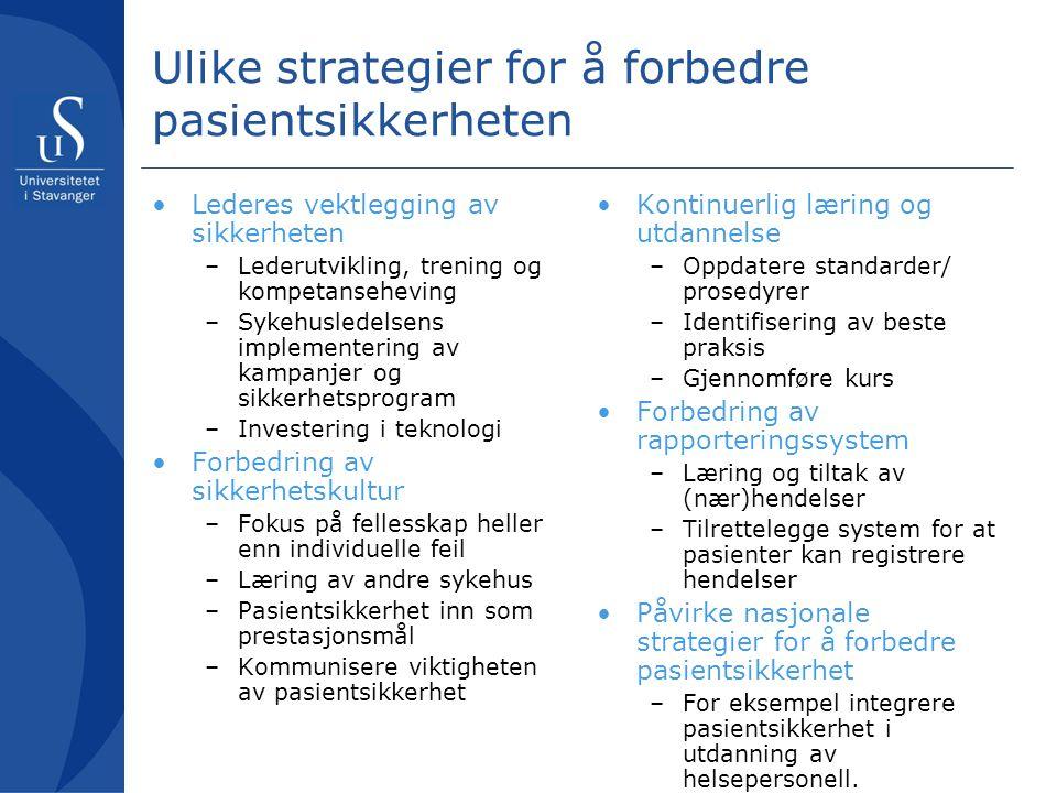 Ulike strategier for å forbedre pasientsikkerheten