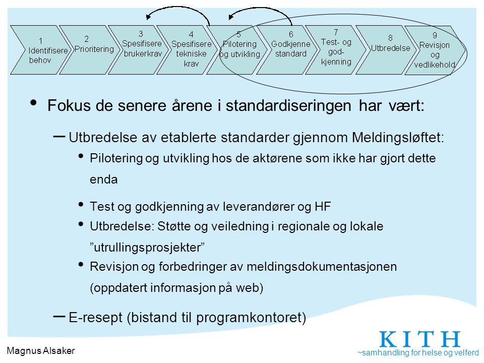 Fokus de senere årene i standardiseringen har vært: