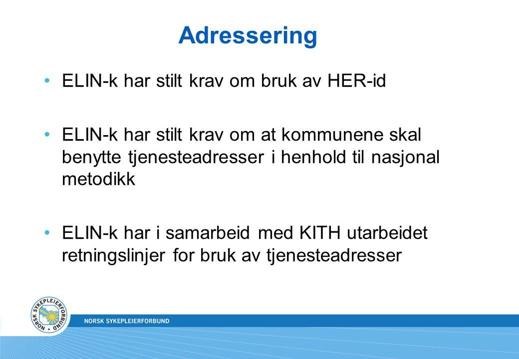 Adressering ELIN-k har stilt krav om bruk av HER-id
