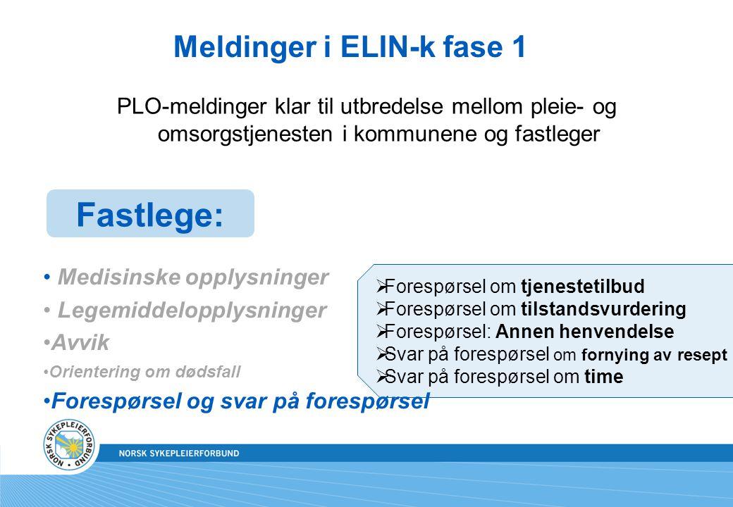 Meldinger i ELIN-k fase 1