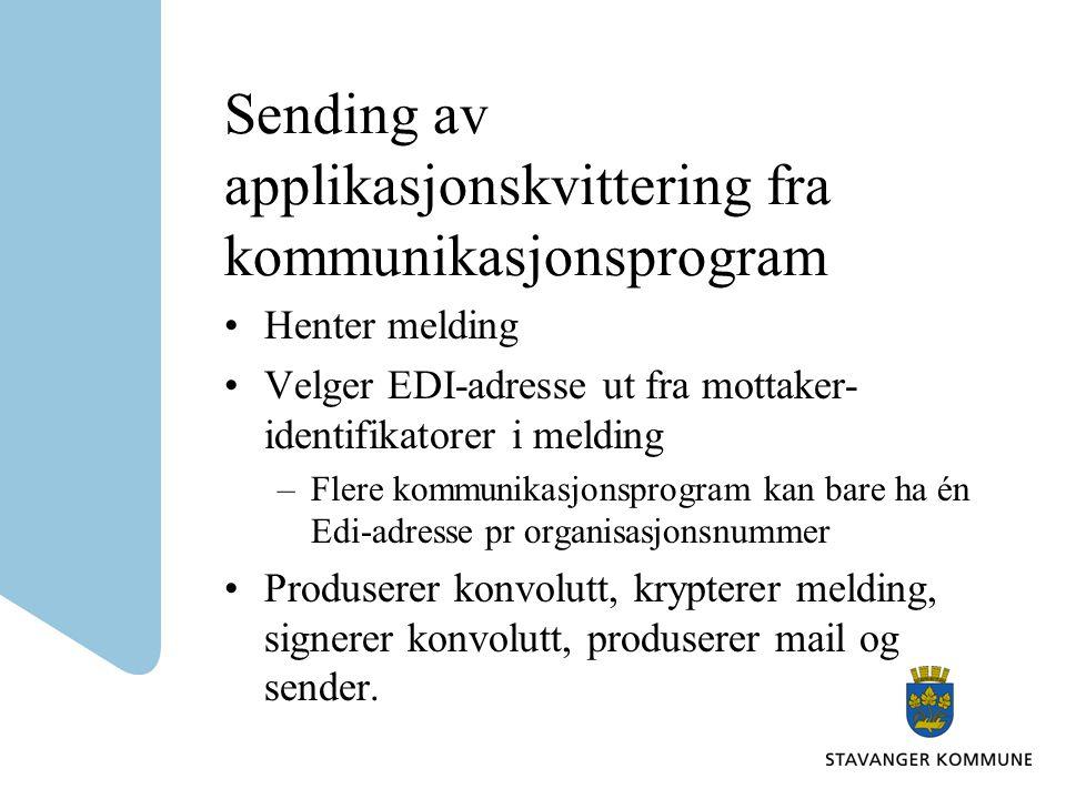Sending av applikasjonskvittering fra kommunikasjonsprogram