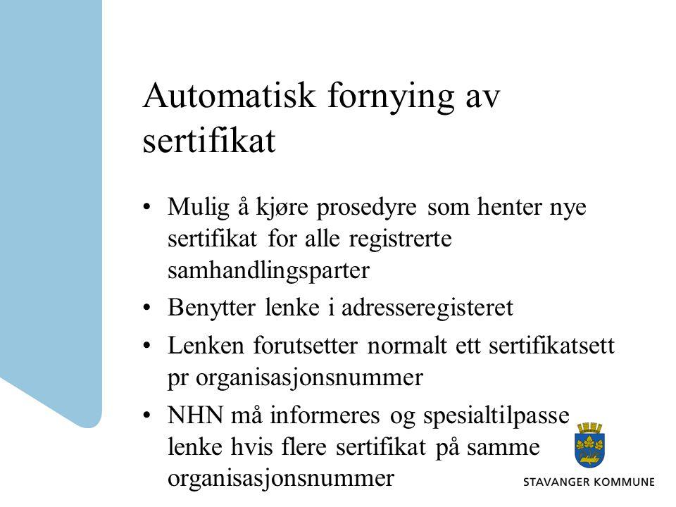 Automatisk fornying av sertifikat
