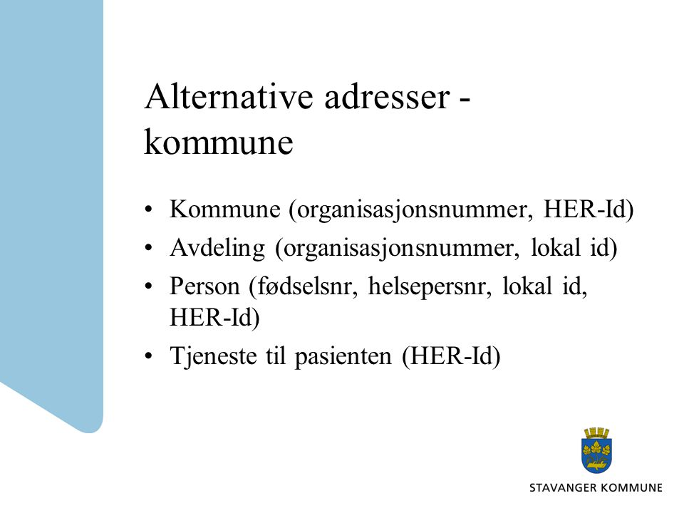 Alternative adresser - kommune