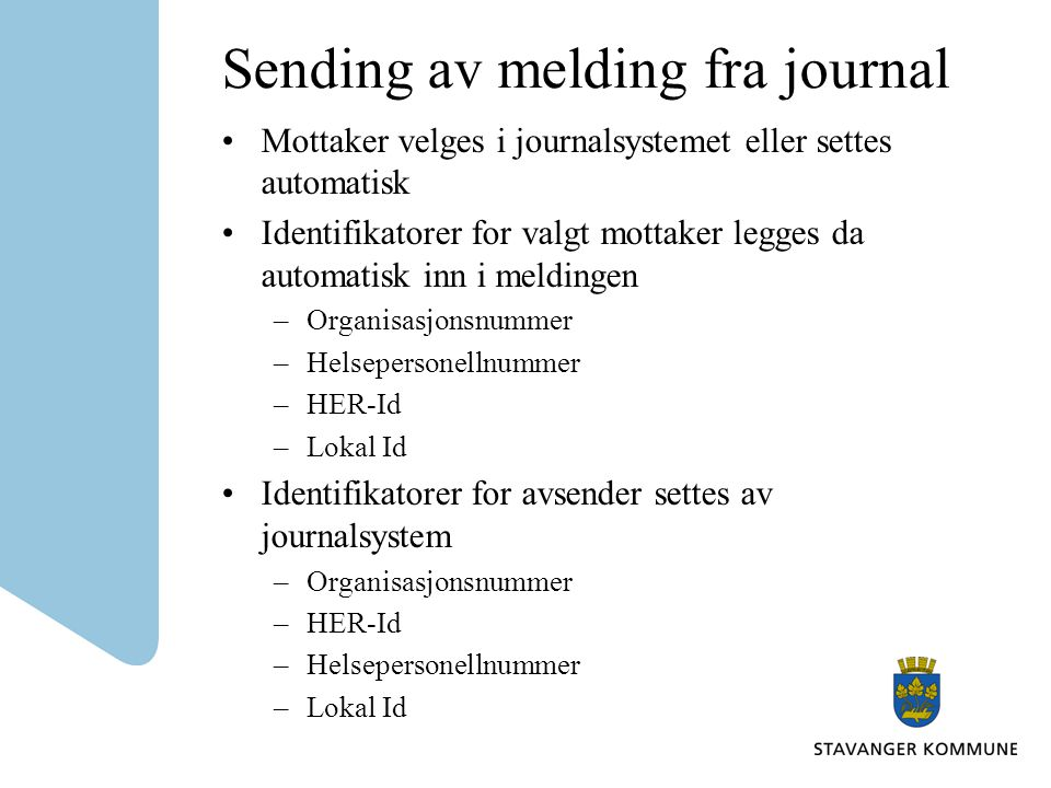 Sending av melding fra journal