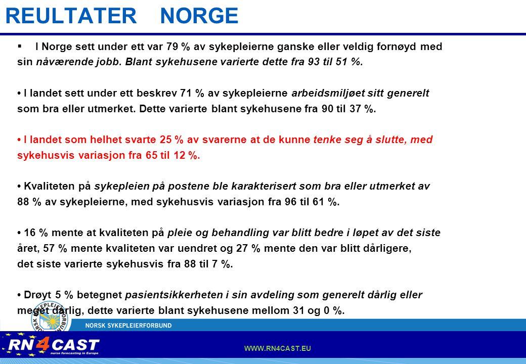 REULTATER NORGE I Norge sett under ett var 79 % av sykepleierne ganske eller veldig fornøyd med.